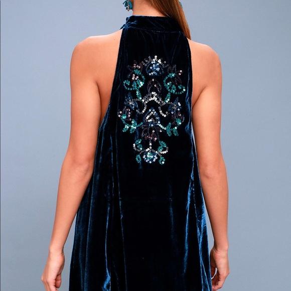 e626d8369dda Free People Dresses | Navy Blue Velvet Sequin Swing Dress | Poshmark